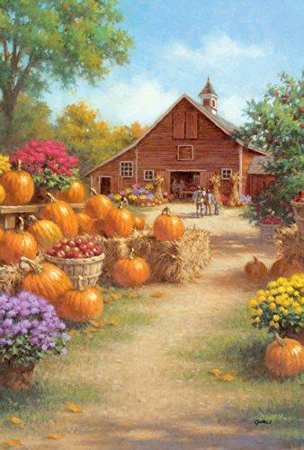 Toland - Farm Glory - Decorative Rustic Harvest Fall Autumn Pumpkin Flower Usa-produced Garden Flag