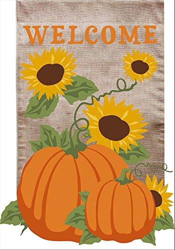 Welcome Fall Burlap Garden Flag Sunflowers Pumpkins 125 x 18 Briarwood Lane