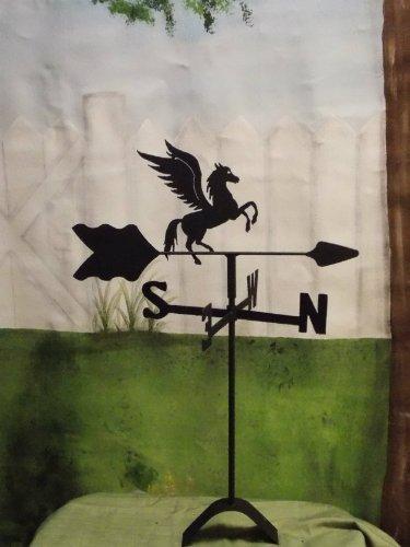 Pegasus Flying Horse Roof Mounted Weathervane Black Wrought Iron