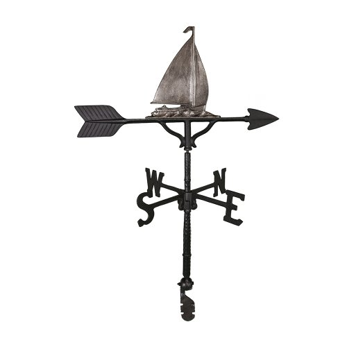 Montague Metal Products 32-Inch Weathervane with Swedish Iron Sailboat Ornament