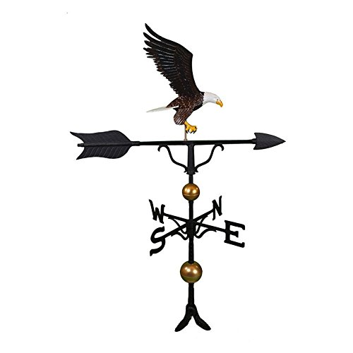 Montague Metal Products 52-inch Deluxe Weathervane With Full Bodied Color Eagle Ornament
