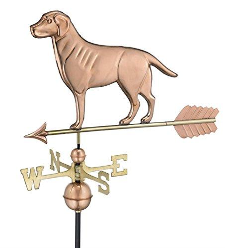 23 Polished Copper Labrador Retriever Dog Outdoor Weathervane with Arrow