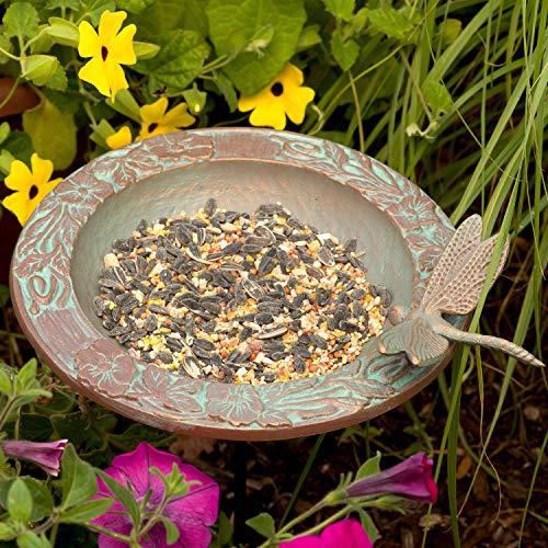 Whitehall Products Dragonfly Garden Bird Feeder Copper Verdi