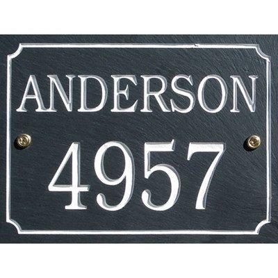 Slate Rectangle 2 Line Personalized Address Plaque Font Color Gold