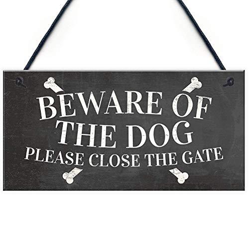 Meijiafei Beware of The Dog Warning Sign Garden Gate House Door Hanging Outdoor Plaque Gift 10 X 5