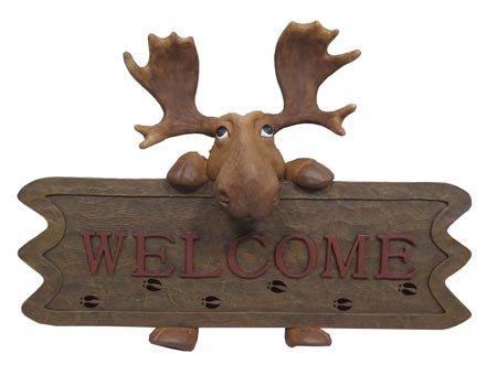 Moose Welcome Sign Wall Plaque IndoorOutdoor 12-inch Cabin Decor
