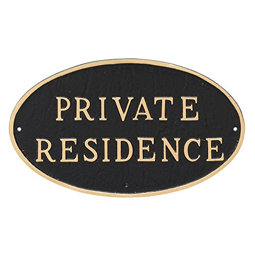 Montague Metal Products Oval Private Residence Statement Plaque Sign Black With Gold Lettering 6&quot X 10&quot