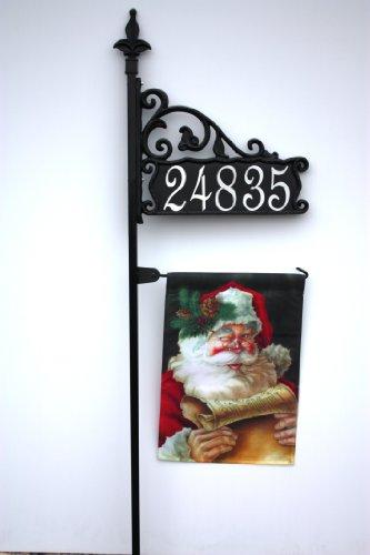 Boardwalk 48&quot Reflective Nightvision Address Sign W Garden Flag Post
