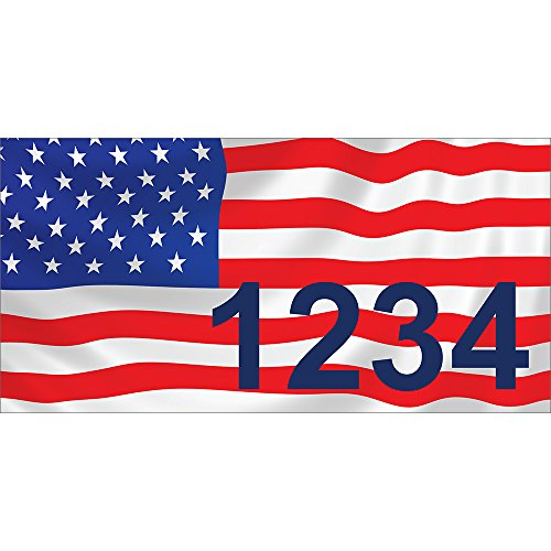 USA FLAG - V1 - Custom House Numbers by State of Address  - 7 x 35 Metal